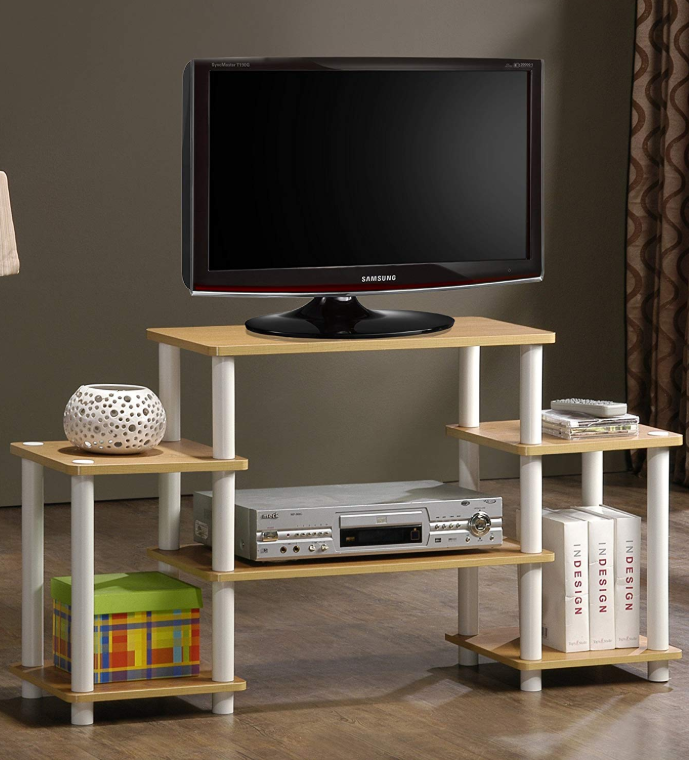 Wooden Tv Stands - Furinno 11257BE Tools Entertainment TV Stands, Beech, White