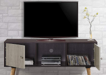 Wooden Tv Stands - Hodedah Retro Style TV Stand with Two Storage Doors