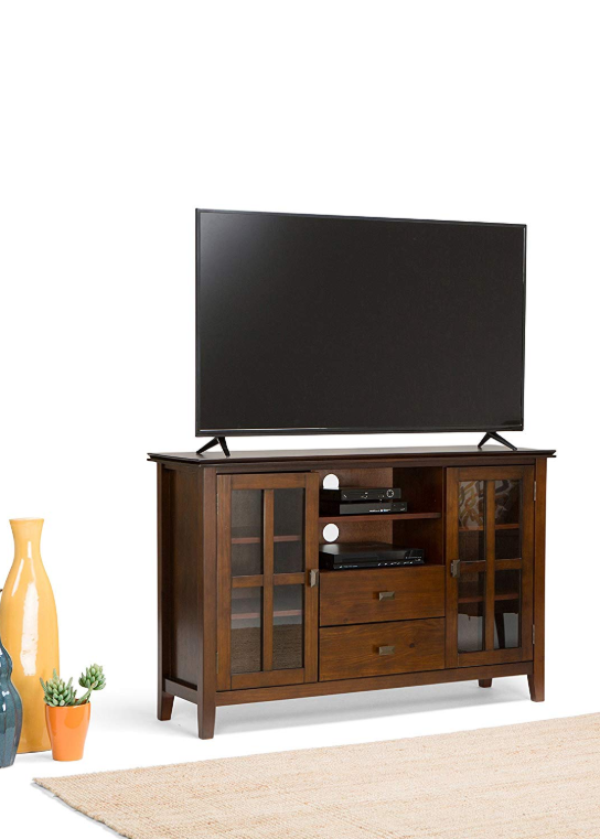 Wooden Tv Stands - Simpli Home Artisan TV Media Stand For TVs Up To 60″