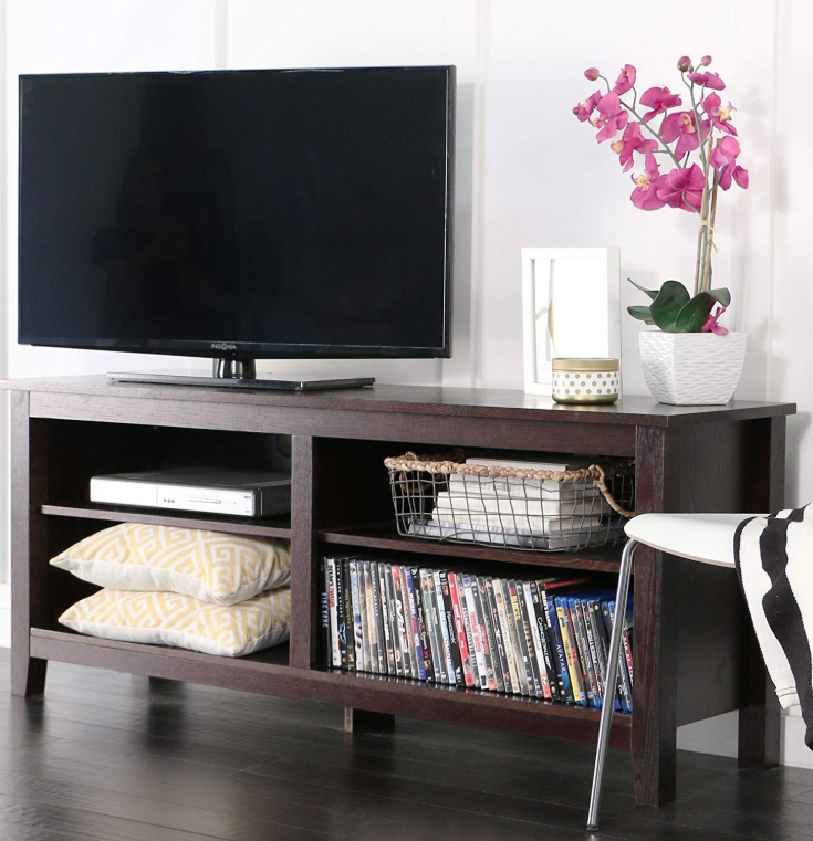 Wooden Tv Stands - WE Furniture 58″ Wood TV Stand Storage Console, Espresso
