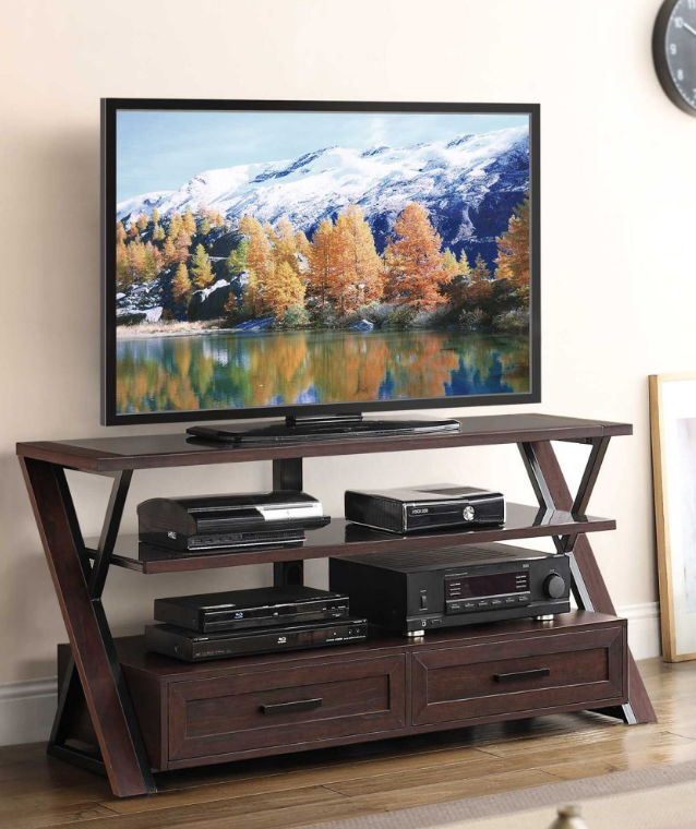 Wooden Tv Stands - Whalen Furniture XLDEC54-NV 3-in-1 Flat Panel Entertainment Stand