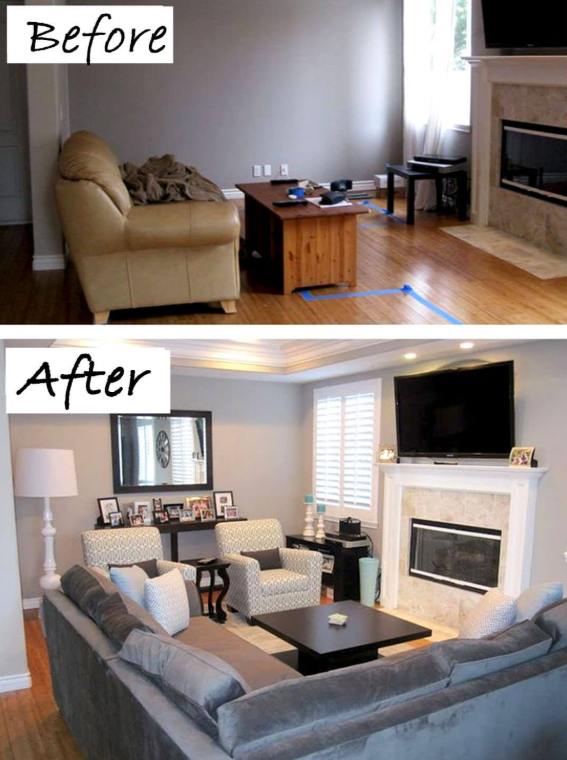 25 Before and After Budget Friendly Living Room Makeover Ideas 1