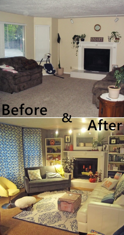 25 Before and After Budget Friendly Living Room Makeover Ideas 10