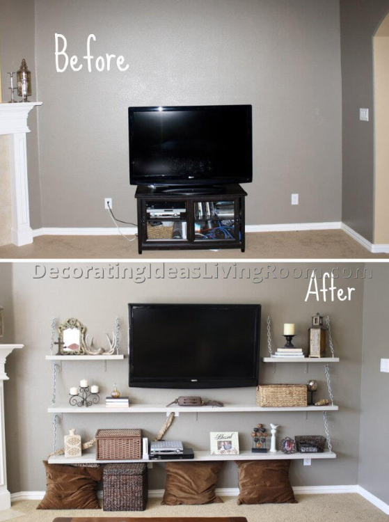 25 Before and After Budget Friendly Living Room Makeover Ideas 12