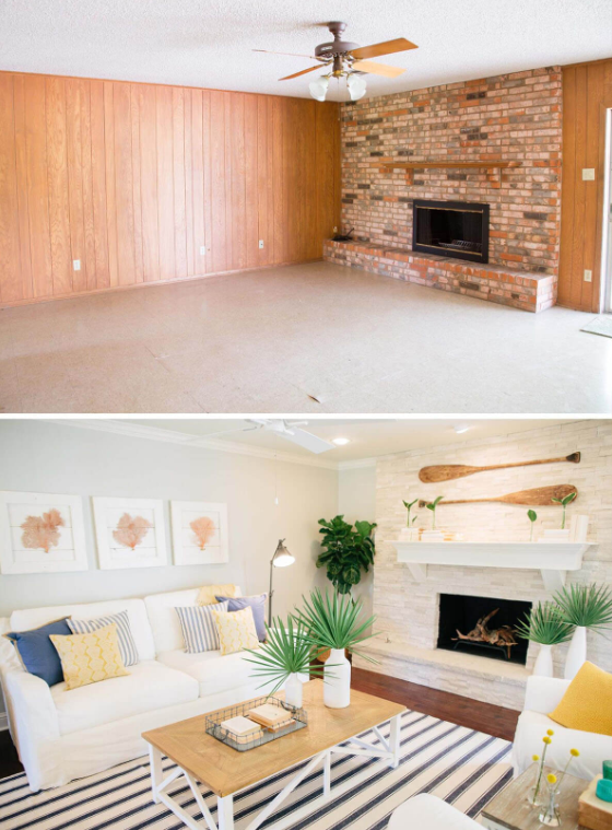 25 Before and After Budget Friendly Living Room Makeover Ideas 14
