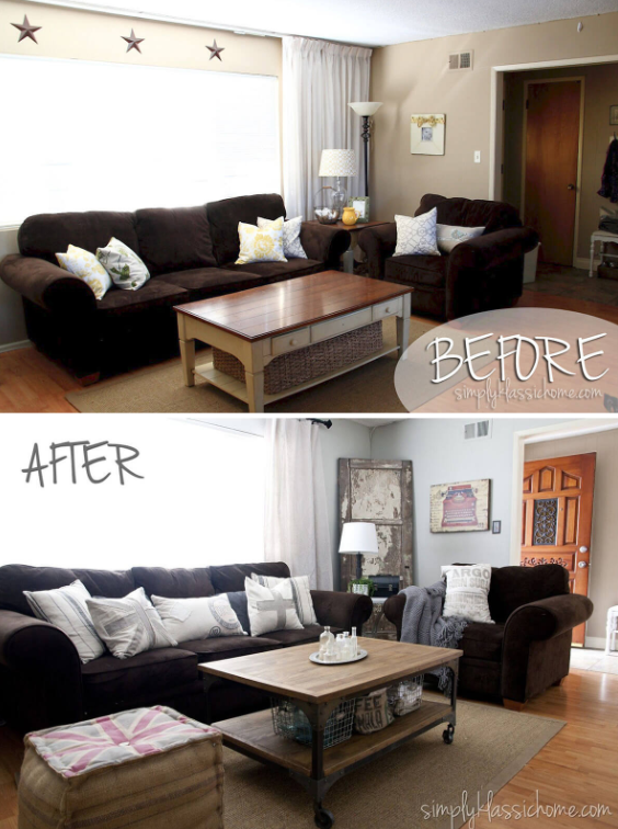 25 Before and After Budget Friendly Living Room Makeover Ideas 15