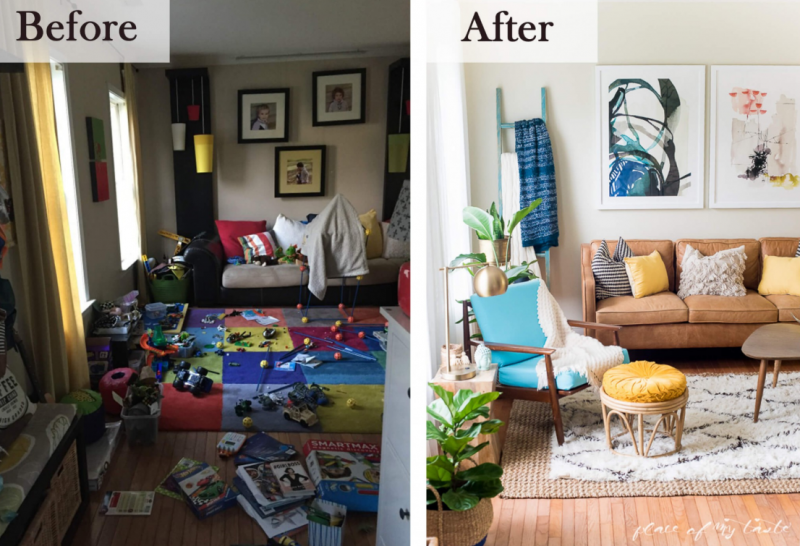 25 Before and After Budget Friendly Living Room Makeover Ideas 18
