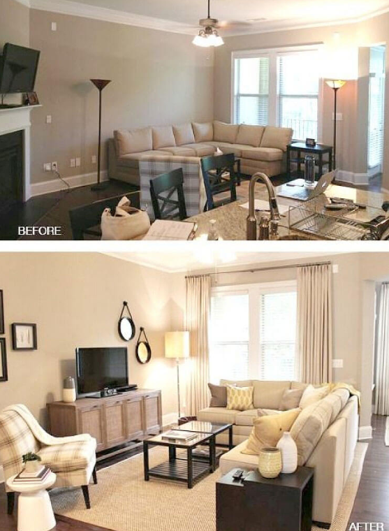 25 Before and After Budget Friendly Living Room Makeover Ideas 2