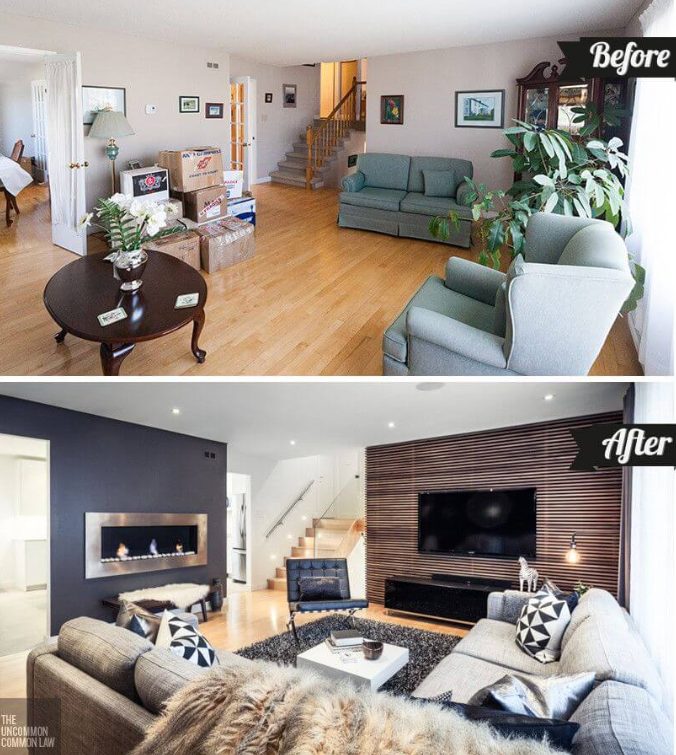 25 Before and After Budget Friendly Living Room Makeover Ideas 20