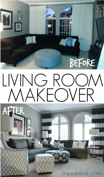 25 Before and After Budget Friendly Living Room Makeover Ideas 24