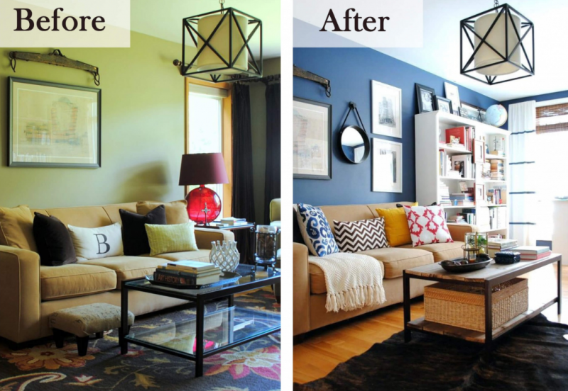25 Before and After Budget Friendly Living Room Makeover Ideas 6