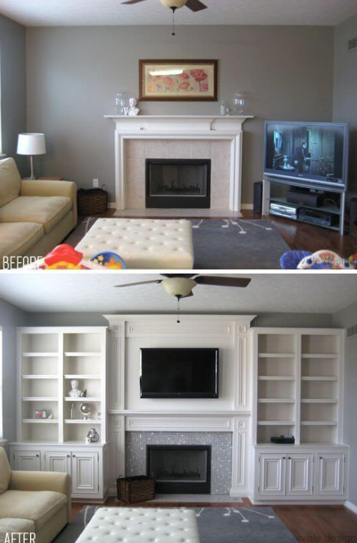 25 Before and After Budget Friendly Living Room Makeover Ideas 7
