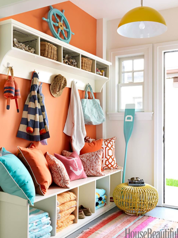 Bright And Sunny Color Mudroom Choices