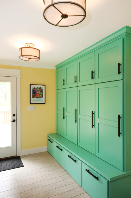 Bright Green Mudroom Lockers