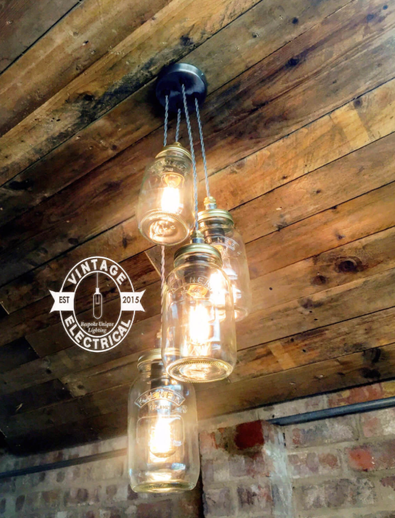 Four-Light Mason Jar Hanging Chandelier