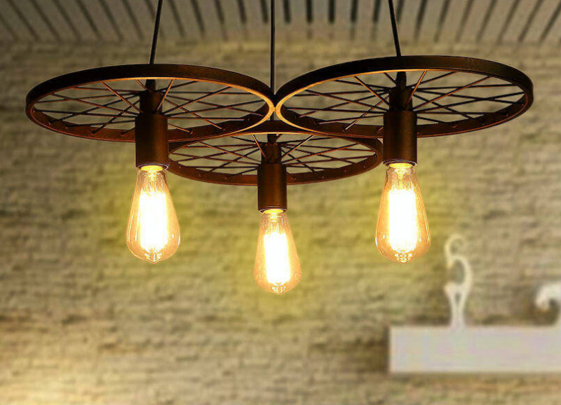 Iron Wheels Create an Elegant Hanging Light
