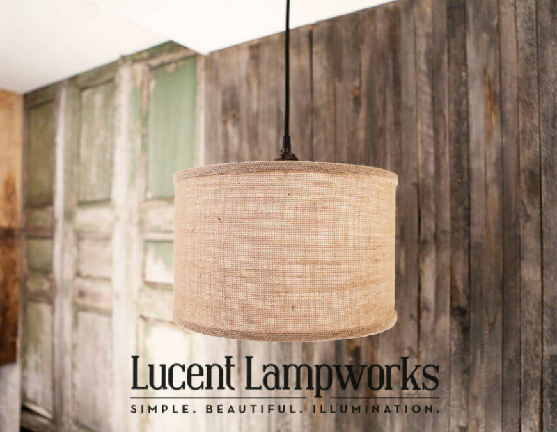 Natural Burlap Wrapped Drum Shade Fixture
