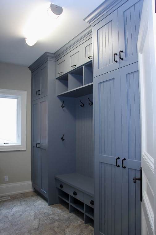 Ocean Blue Transitional Mudroom Style