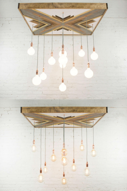 Reclaimed Wood Chandelier with Geometric Artistic Touch
