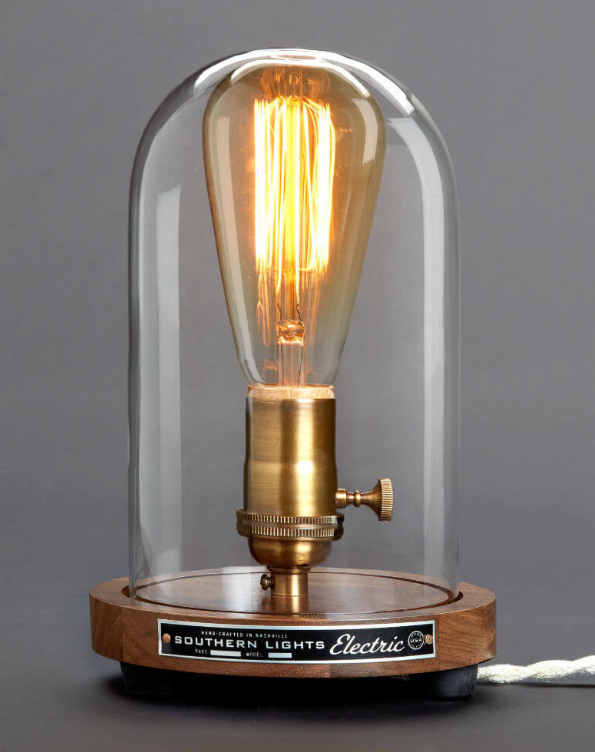 Recreated Edison Bell Jar Table Lamp