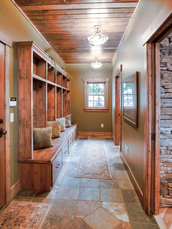Rustic Mudroom Built-in Bench And Cabinetry