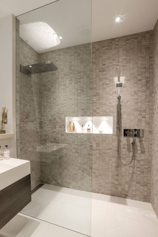 TAUPE TILE - walk in shower