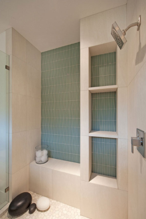 TURQUOISE TILE - walk in shower