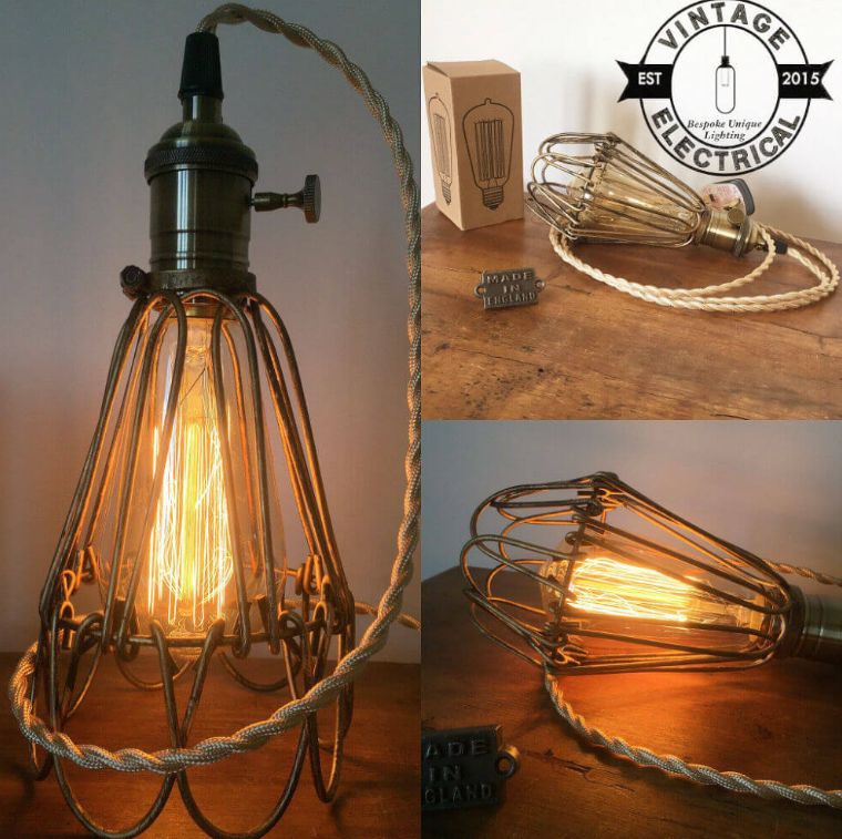 Vintage Cage Lamp Perfect for Ceiling or Table