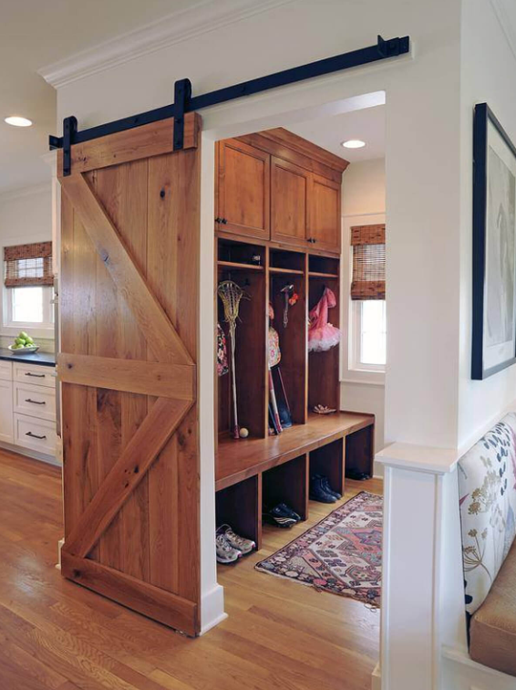 Wooden Barn Door And Rustic Feel Mudroom Ideas