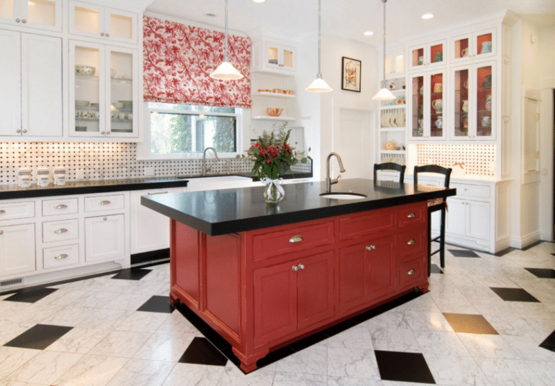RICH RED Kitchen Island